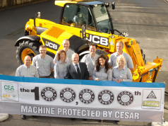 THE DATATAG TEAM AT JCB 100,000TH CESAR REGISTERED MACHINE