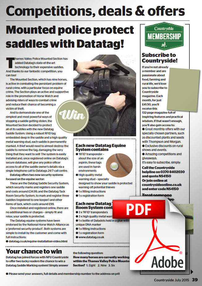 MOUNTED POLICE PROTECT SADDLES WITH DATATAG!