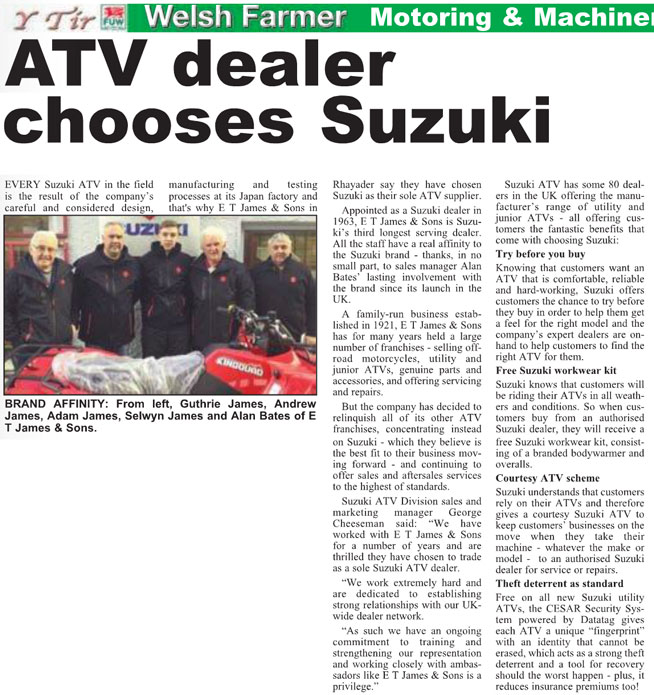 WELSH FARMERS FEATURE ARTICLE ON SUZUKI ATV SECURITY SYSTEM