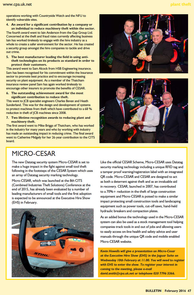 CPA BULLETIN FEATURE ARTICLE ON CITS CESAR AWARDS AND MICRO CESAR