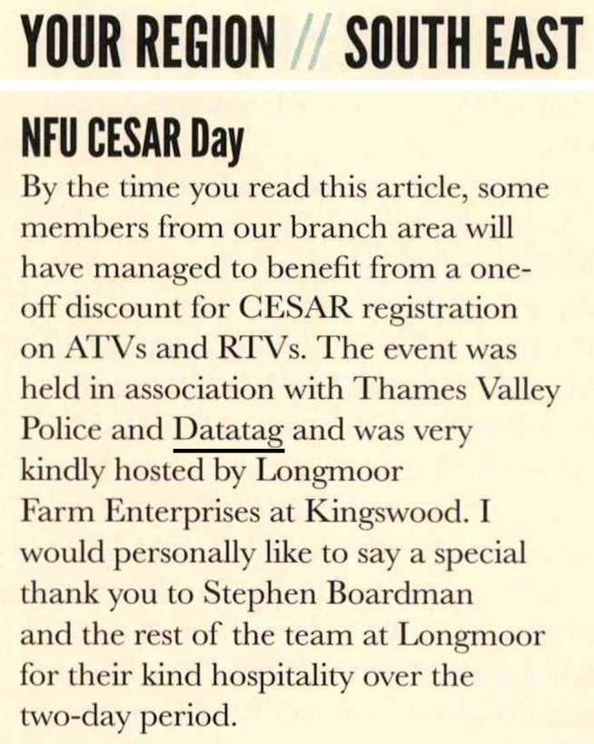 NFU BRITISH FARMERS AND GROWERS NEWS ARTICLE - CESAR-IT DAY
