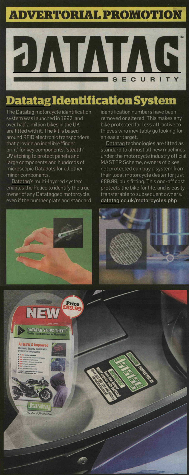 MCN NEWS ADVERTORIAL - DATATAG MOTORCYCLE SYSTEM