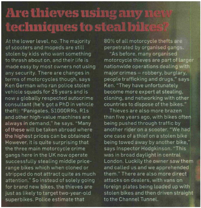 MCN NEWS FEATURE - MOTORCYCLE THEFT