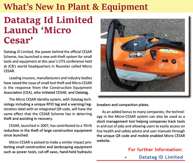 CONTRACTORS WORLD UK & IRELAND NEWS ARTICLE ON MICRO CESAR LAUNCH AT CITS CONFERENCE
