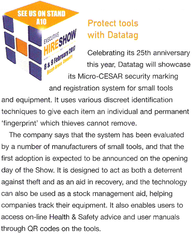 EXECUTIVE HIRE SHOW FEATURE - PROTECT TOOLS WITH DATATAG