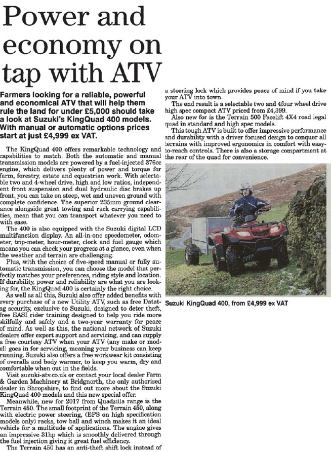 FEATURE ARTICLE THE FARMER - POWER AND ECONOMY ON TAP WITH ATV
