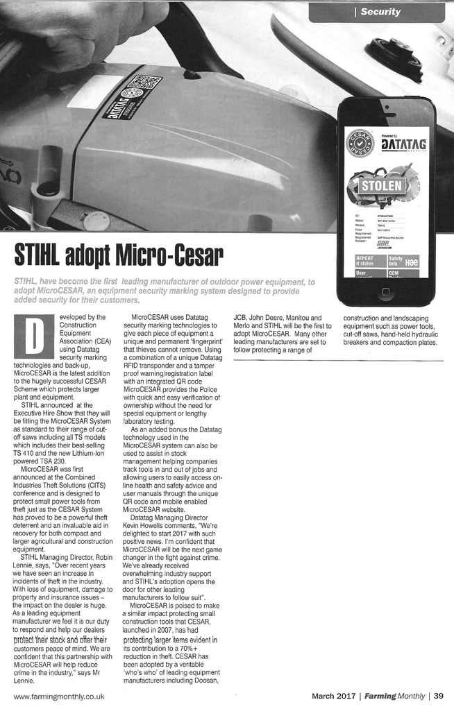 FEATURE ARTICLE FARMING MONTHLY - STIHL ADOPT MICROCESAR