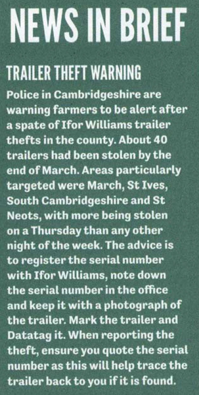 FEATURE ARTICLE BRITISH FARMERS AND GROWERS - TRAILER THEFT WARNING