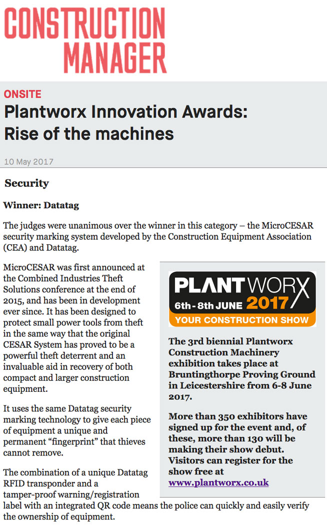 FEATURE ARTICLE CONSTRUCTION MANAGER - PLANTWORX INNOVATION AWARDS: RISE OF THE MACHINES