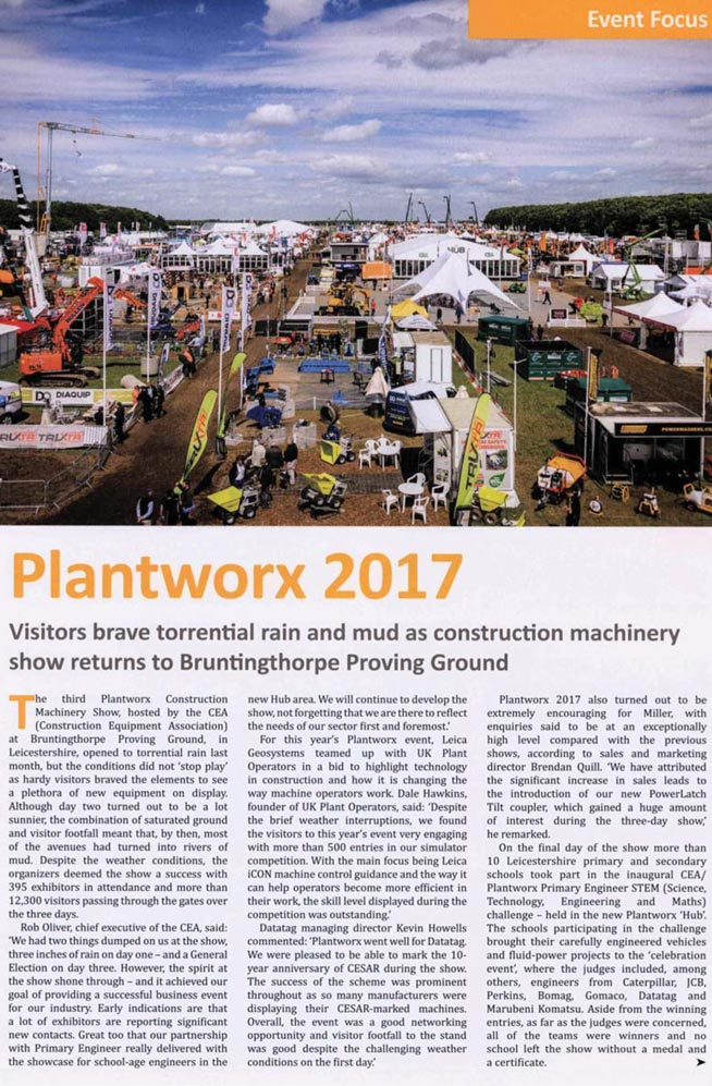 FEATURE ARTICLE QUARRY MANAGEMENT MAGAZINE - PLANTWORX 2017