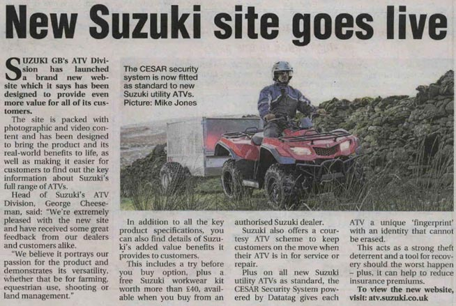 FEATURE ARTICLE AGICULTURAL TRADER - NEW SUZUKI SITE GOES LIVE