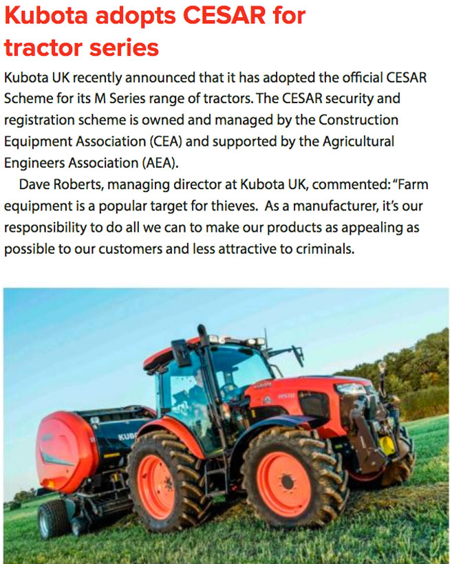 FEATURE ARTICLE CONSTRUCTION WORX - KUBOTA ADOPTS CESAR FOR TRACTOR SERIES